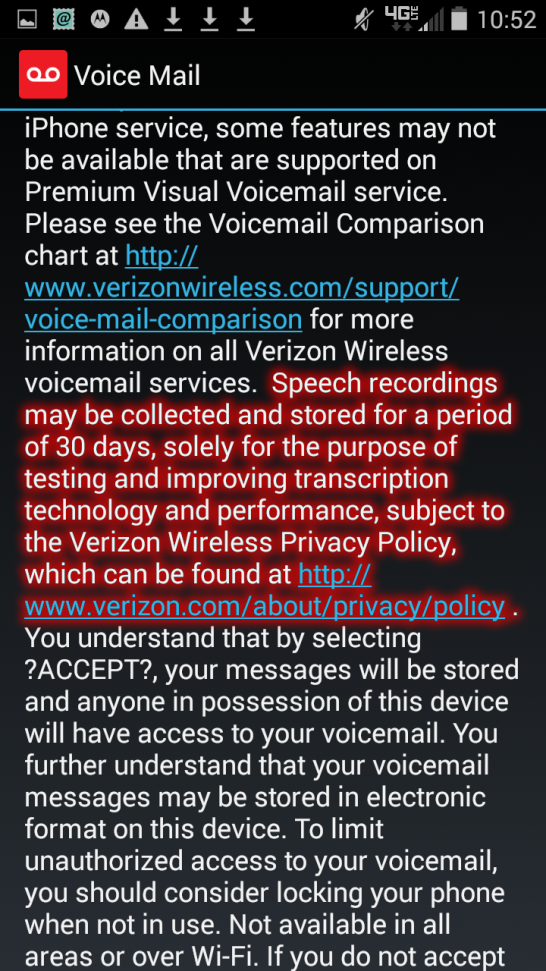 Verizon voicemail services