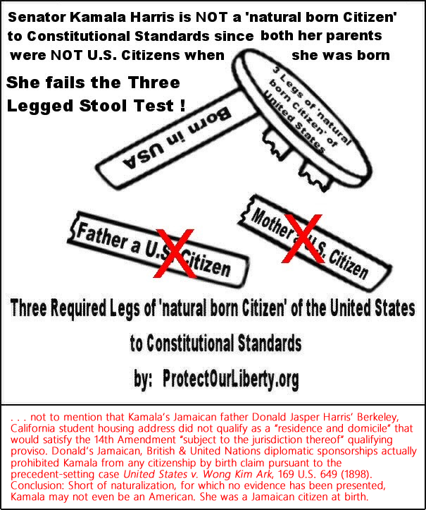 "Senator Kamala Harris does not appear to be an American citizen. Neither parent was American. . . not to mention that Kamala's Jamaican father Donald Jasper Harris' Berkeley, California student housing address did not qualify as a ""residence and domicile"" that would satisfy the 14th Amendment ""subject to the jurisdiction thereof"" qualifying proviso. Donald's Jamaican, British & United Nations diplomatic sponsorships actually prohibited Kamala from any citizenship by birth claim pursuant to the precedent-setting case United States v. Wong Kim Ark, 169 U.S. 649 (1898). Conclusion: Short of naturalization, for which no evidence has been presented, Kamala may not even be an American. She was a Jamaican citizen at birth."
