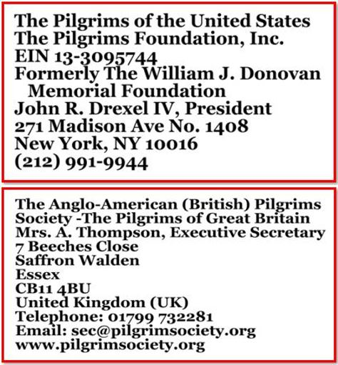 Pilgrims addresses
